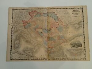 1863 Antique Map Of Austria Turkey Greece By Johnson
