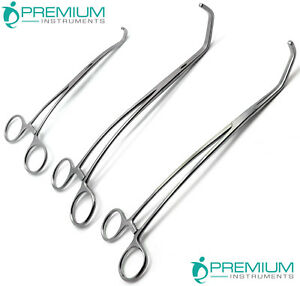 Surgical Forceps Satinsky Cooley Debakey Veterinary Premium Instruments Set Of 3