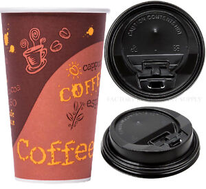 1000 case 16 Oz Print Poly Paper Hot Cup Black Lid Tea Coffee Chocolate Take Out