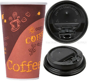 600 case 20 Oz Print Poly Paper Hot Cup Black Lid Tea Coffee Chocolate Take Out