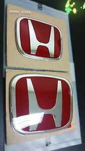 2pcs Jdm Type r Red H Emblem Front Rear Fit For 2006 15 Honda Civic Sedan