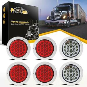 4 24 Led Round Stop Turn Tail Backup Reverse Truck Lights 4 Red