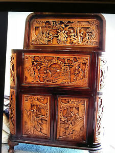 Antique Chinese Lacquered Carved Camphor Wood Bar Cabinet Dragons Court Scenes