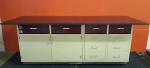 Industrial Laboratory Base Cabinet 10 Drawers Storage Area Includes Resin Top