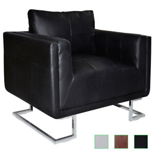Cube Club Chair Accent Armchair Real Leather Chrome Frame White black brown