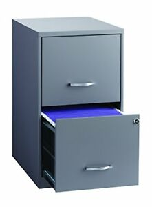Space Solutions 2 drawer Metal File Cabinet With Lock 18 Deep X 14 25 Wide X