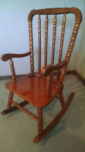 Antique Child S Rocking Chair Solid Wood Rocker Small Doll Infant Vintage