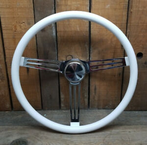 15 White Steering Wheel Rat Hot Rod Custom Gasser Lowrider Vtg Style Van Vw Bus