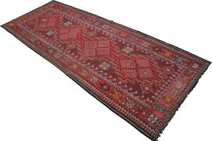 59 X 149 Inches Turkish Kilim Rug Hand Woven Large Runner 73 Years Old Antique