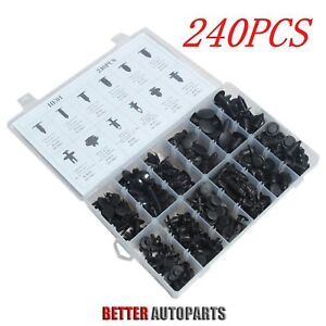 240pcs Clip Trim Car Body Retainer Push Type Pin Rivet Panel Moulding Assortment