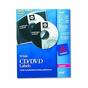 Avery Cd Labels For Laser Printers White 100 Disc Labels And 200 Spine Labels