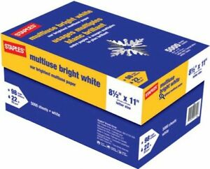Staples 98 Bright White 22lb Copy Paper Multipurpose Multiuse 8 5x11 5000 carton