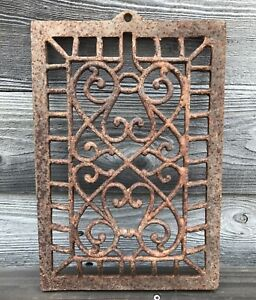 Antique Ornate Cast Iron Heat Grate Vintage Ornate Heat Vent