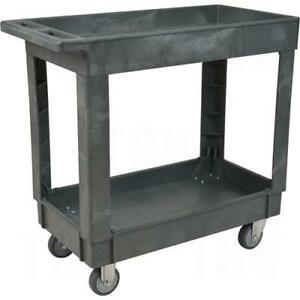 Plastic Utility Service Carts 2 Shelves Capacity 500 Lbs