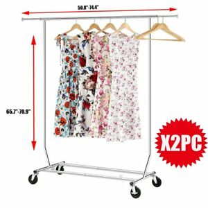 2pcs Heavy Duty Collapsible Commercial Adjustable Clothing Single Garment Rack A