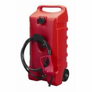 Portable Fuel Caddy Transfer Pump Rolling Gas Can 14 Gallon Jug Container Hose