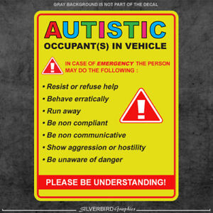 Autistic Occupant In Vehicle Sticker Decal Autism Awareness Car Truck Window