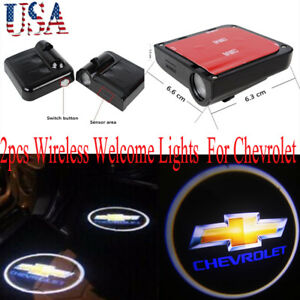 2x For Chevrolet Logo Wireless Car Door Led Lights Welcome Laser Projector Lamp