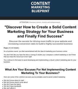 Content Marketing Blueprint Business For Sale W Software Master Resell Rights