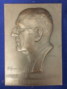 Chancellor Ignaz Seipel Austria Bronze Plaque Sanierungs Bundeskanzler 1920s