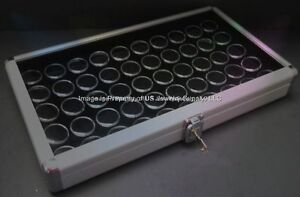 5 Aluminum Display Cases Box With 50 Jar Black Gems Body Jewelry Gold Nuggets