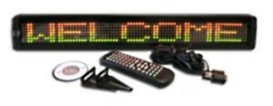 Tricolor Led Programmable Display Indoor Sign Wireless Remote 26 x4 New