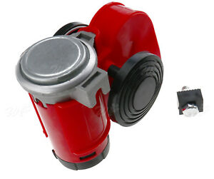 Very Loud 12v Red Twin Auto Machine Air Horn 136db Universal Motorcycle
