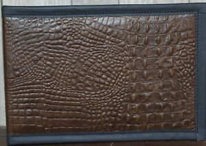 Leather 7 Ring Business Check Binder Chocolate Alligator Embossed Cowhide