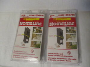 2 New Homeline 20a Circuit Breaker Ground Fault Hom120gfic