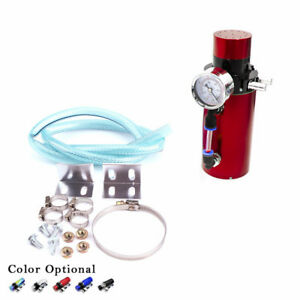 Red Aluminum Engine Oil Catch Reservoir Breather Tank Can Vacuum Pressure Gauge