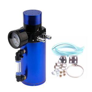 Blue Aluminum Engine Oil Catch Reservoir Breather Tank Can Vacuum Pressure Gauge