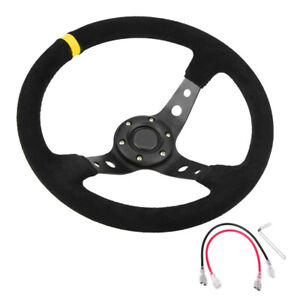 Suede Leather 350mm 14in Deep Dish 6 Bolt Jdm Racing Steering Wheel Horn Button