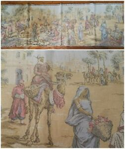 Antique 1920s Belgian Tapestry Moroccan Market Scene Dancing Girl Faded Colors