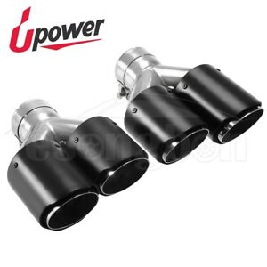 2pcs 2 5 Inlet 3 5 Outlet Y pipe Carbon Fiber Dual Exhaust Muffler Tip Black