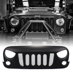 Black W Built In Mesh Transformer Grille Front Matte For Jeep Wrangler Jk