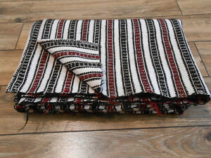 Antique Hand Woven Heavy Flax Wool Rug Coverlet Plaid Ukraine Pokuttia 1920s