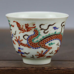 China Antique Porcelain Ming Chenghua Doucai Hand Painting Drgon Phoenix Cup