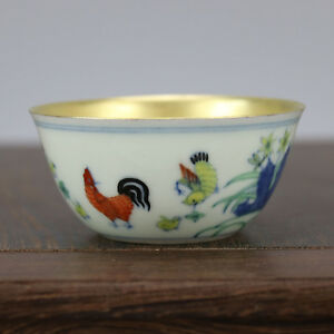 China Antique Porcelain Ming Chenghua Doucai Gild Chicken Cup Bowl Decoration