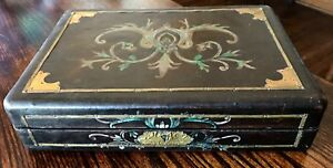 Antique Learher Covered Fold Art Painted Wood And Brass Document Box