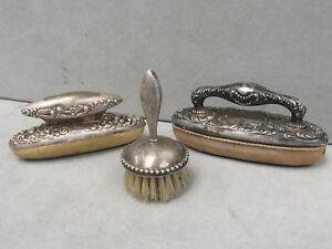 Antique Sterling Silver Nail Buffers And Fingernail Brush 10985 Silver My