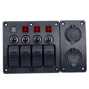 4 Gang Led Indicators Rocker Circuit Breaker Waterproof Marine Switch Panel us