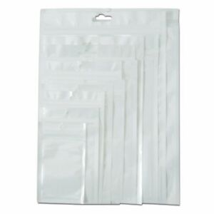 Clear White Zip Lock Plastic Bag Reclosable Charger Cable Pack Hang Hole Pouch