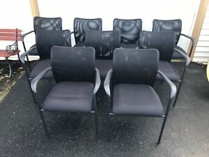 Lot Of 9 Allseating Co Inertia Mesh Back Side office Chairs Black