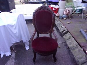 Victorian Red Hand Carved Parlor Chair Super Nice