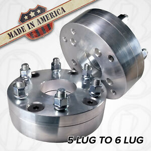 2 Usa Made 5 To 6 Lug Wheel Adapters 2 Spacers Gmc Chevy 5x5 To 6x132