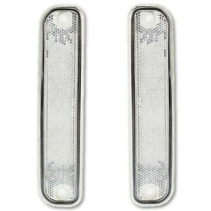 73 80 Chevy Chevrolet Gmc Truck Clear Side Marker Light Lamp Lens W Trim Pair