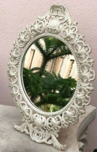 Vintage Old Iron Table Mirror Ivory Color