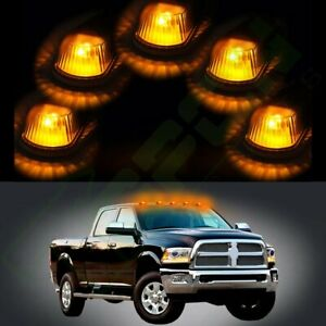 5x Cab Roof Marker Clearance Smoke Light W Amber Led For 80 97 Ford F 150 F 250