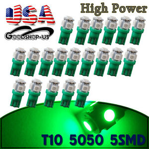 20x Green T10 5050 Led Instrument Panel Interior Lights Bulbs W5w 168 194 2825