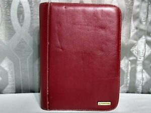 Red Leather Zippered Franklin Covey 7 Ring Day Planner